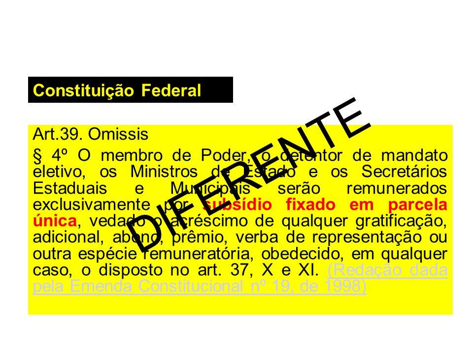 Constituição Federal Art.39. Omissis § 4º O membro de Poder, o detentor de mandato eletivo, os Ministros de Estado e os Secretários Estaduais e Munici