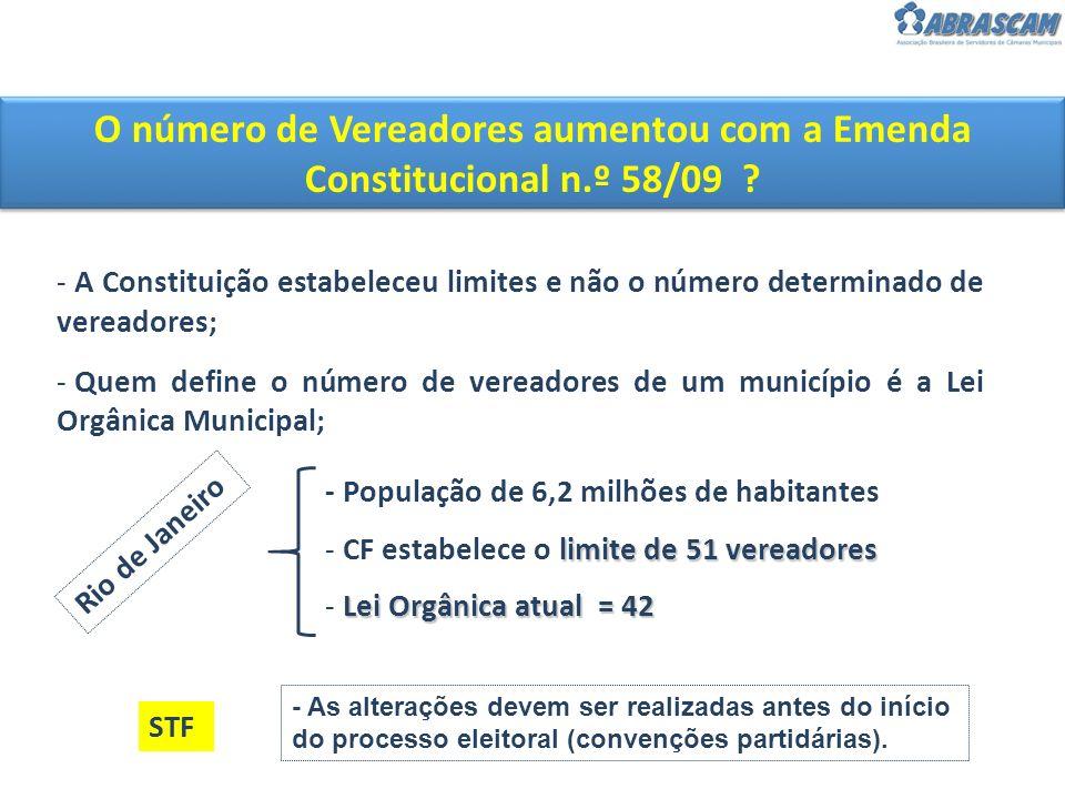 O número de Vereadores aumentou com a Emenda Constitucional n.º 58/09 ? - A Constituição estabeleceu limites e não o número determinado de vereadores;