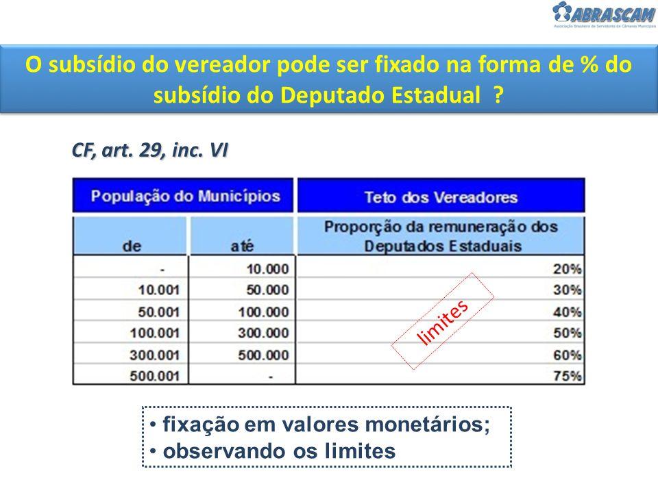 O subsídio do vereador pode ser fixado na forma de % do subsídio do Deputado Estadual ? CF, art. 29, inc. VI fixação em valores monetários; observando