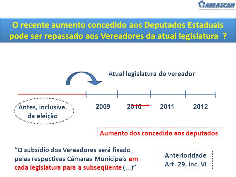 O recente aumento concedido aos Deputados Estaduais pode ser repassado aos Vereadores da atual legislatura ? Atual legislatura do vereador 20092011201