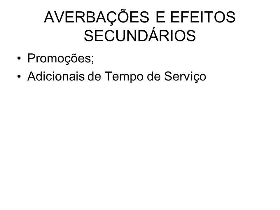 AVERBAÇÕES E EFEITOS SECUNDÁRIOS Promoções; Adicionais de Tempo de Serviço