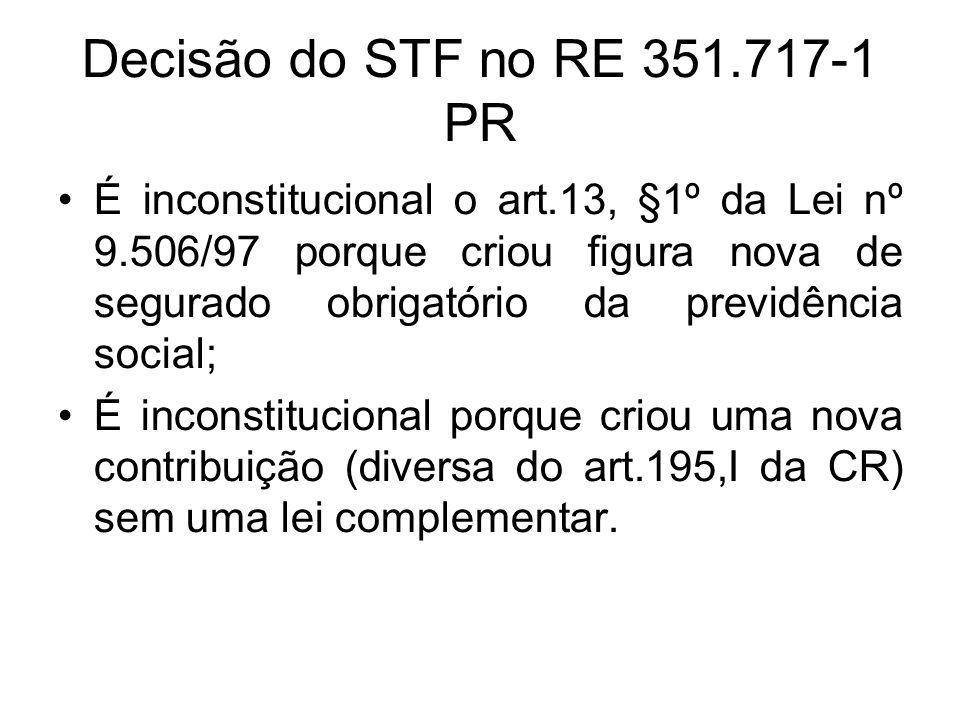 Decisão do STF no RE 351.717-1 PR É inconstitucional o art.13, §1º da Lei nº 9.506/97 porque criou figura nova de segurado obrigatório da previdência