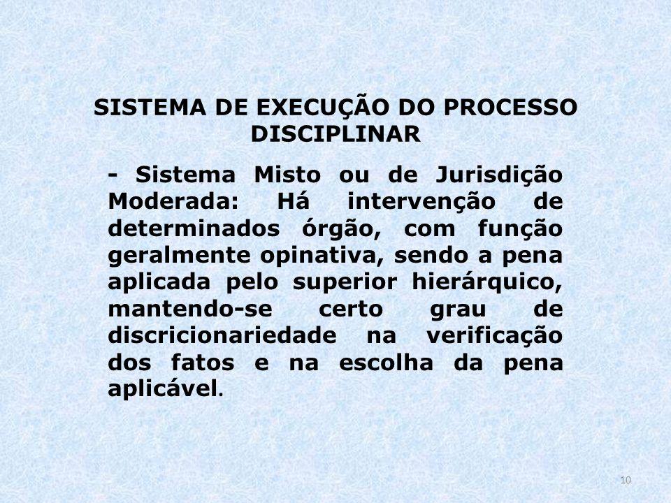 SISTEMA DE EXECUÇÃO DO PROCESSO DISCIPLINAR - Sistema Misto ou de Jurisdição Moderada: Há intervenção de determinados órgão, com função geralmente opi