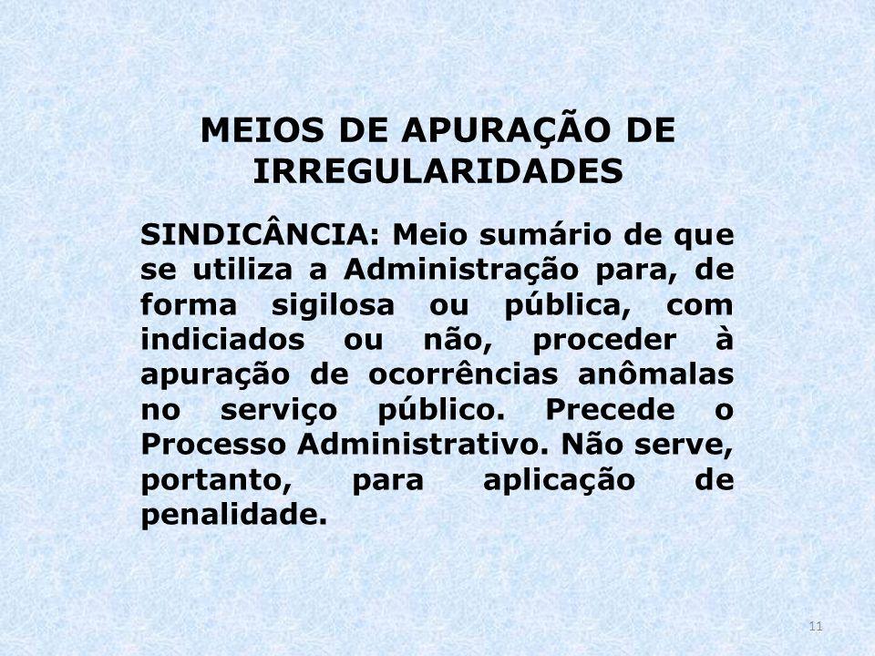 MEIOS DE APURAÇÃO DE IRREGULARIDADES SINDICÂNCIA: Meio sumário de que se utiliza a Administração para, de forma sigilosa ou pública, com indiciados ou