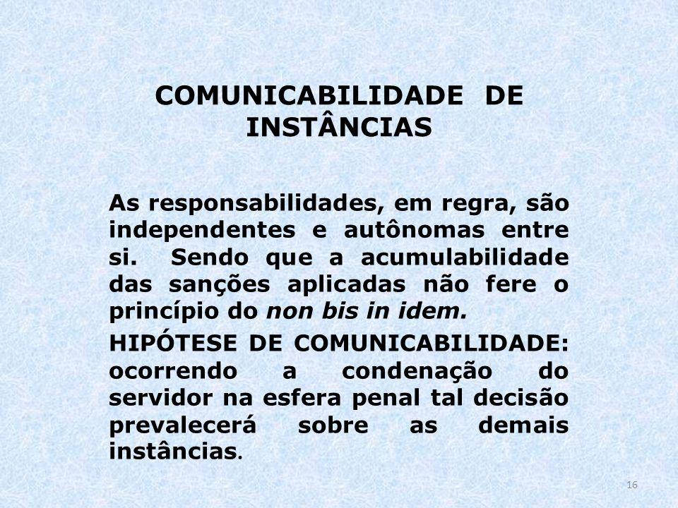 COMUNICABILIDADE DE INSTÂNCIAS As responsabilidades, em regra, são independentes e autônomas entre si. Sendo que a acumulabilidade das sanções aplicad