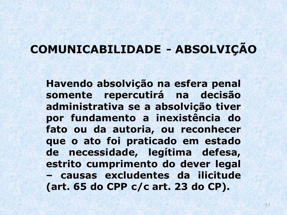COMUNICABILIDADE - ABSOLVIÇÃO Havendo absolvição na esfera penal somente repercutirá na decisão administrativa se a absolvição tiver por fundamento a