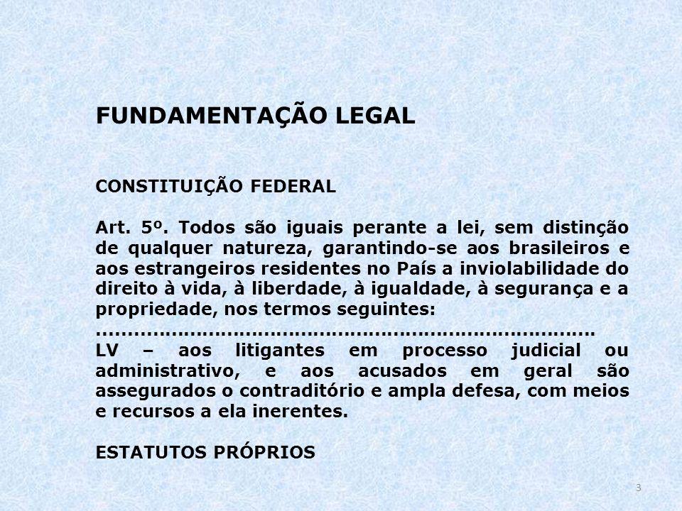FUNDAMENTAÇÃO LEGAL CONSTITUIÇÃO FEDERAL Art. 5º. Todos são iguais perante a lei, sem distinção de qualquer natureza, garantindo-se aos brasileiros e