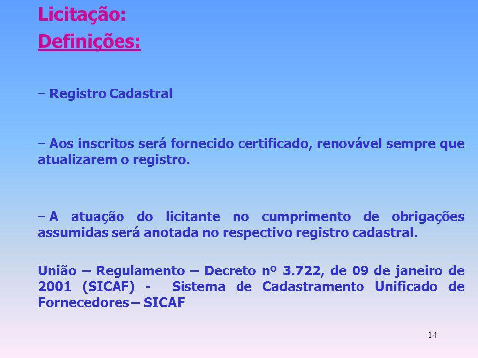 14 Licitação: Definições: – Registro Cadastral – Aos inscritos será fornecido certificado, renovável sempre que atualizarem o registro. – A atuação do