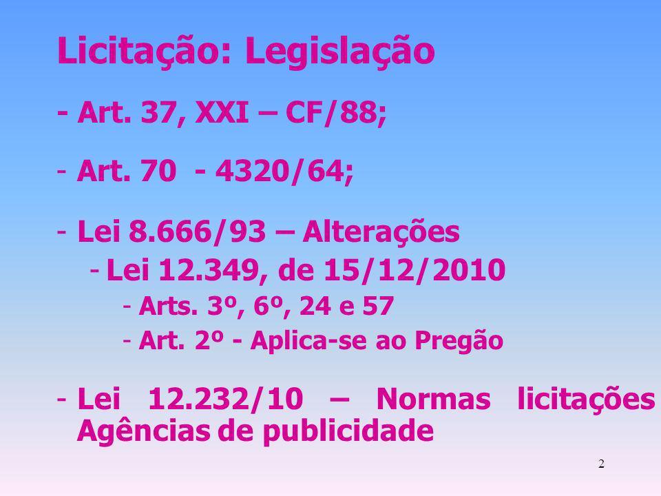 2 Licitação: Legislação - Art. 37, XXI – CF/88; -Art. 70 - 4320/64; -Lei 8.666/93 – Alterações -Lei 12.349, de 15/12/2010 -Arts. 3º, 6º, 24 e 57 -Art.