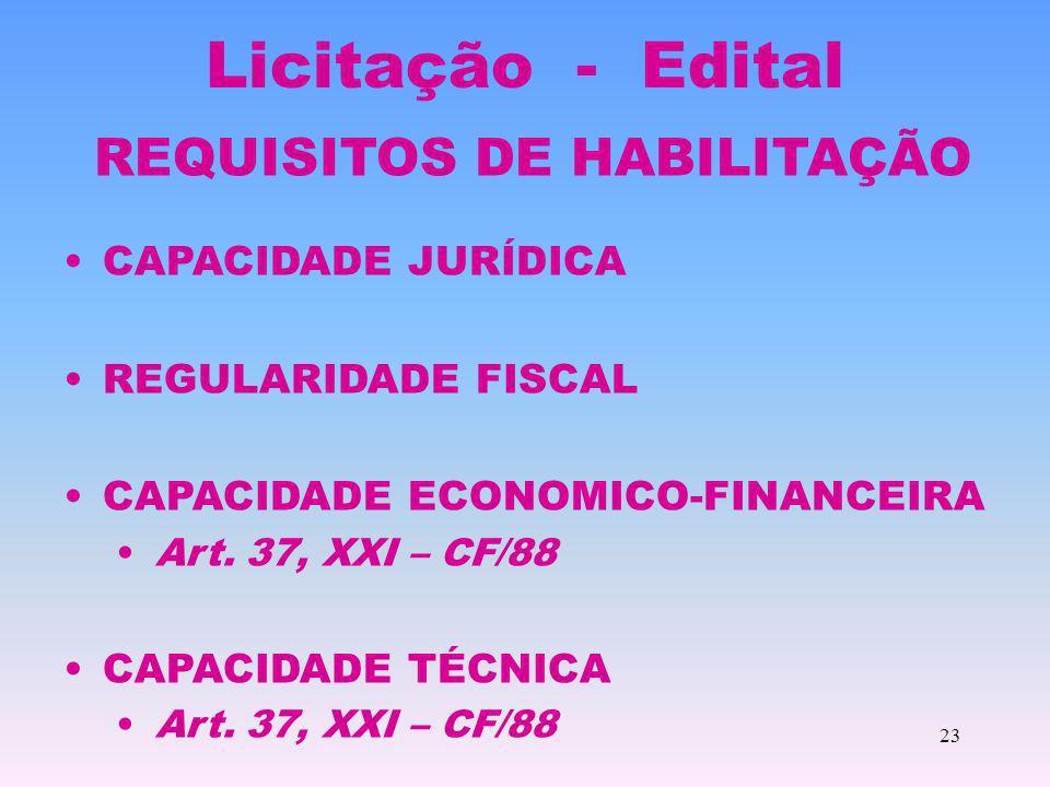 23 Licitação - Edital REQUISITOS DE HABILITAÇÃO CAPACIDADE JURÍDICA REGULARIDADE FISCAL CAPACIDADE ECONOMICO-FINANCEIRA Art. 37, XXI – CF/88 CAPACIDAD