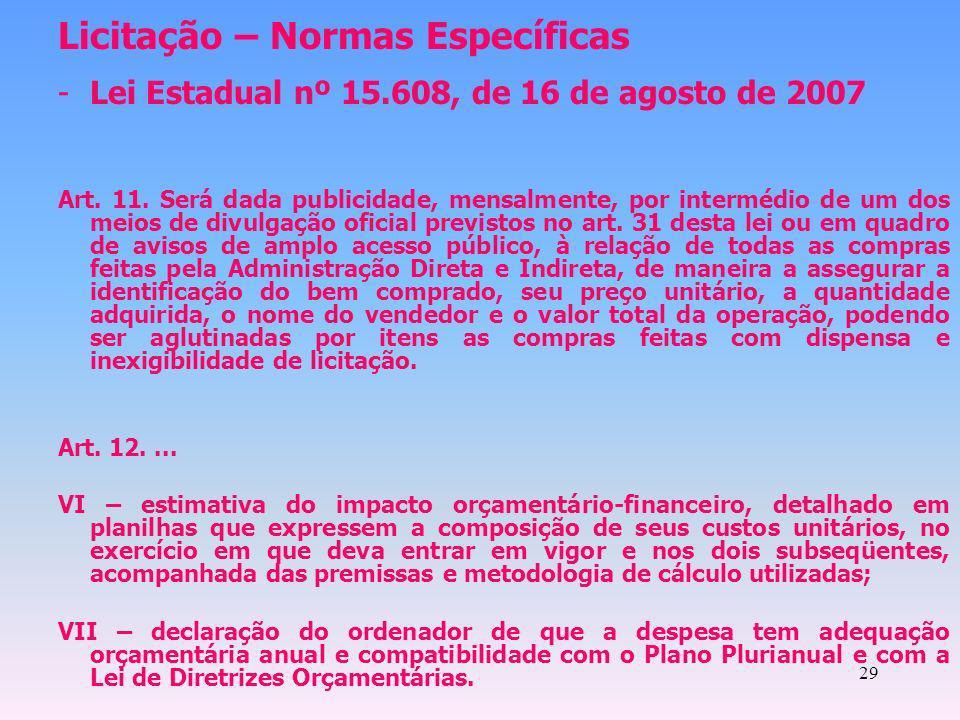 29 Licitação – Normas Específicas -Lei Estadual nº 15.608, de 16 de agosto de 2007 Art. 11. Será dada publicidade, mensalmente, por intermédio de um d