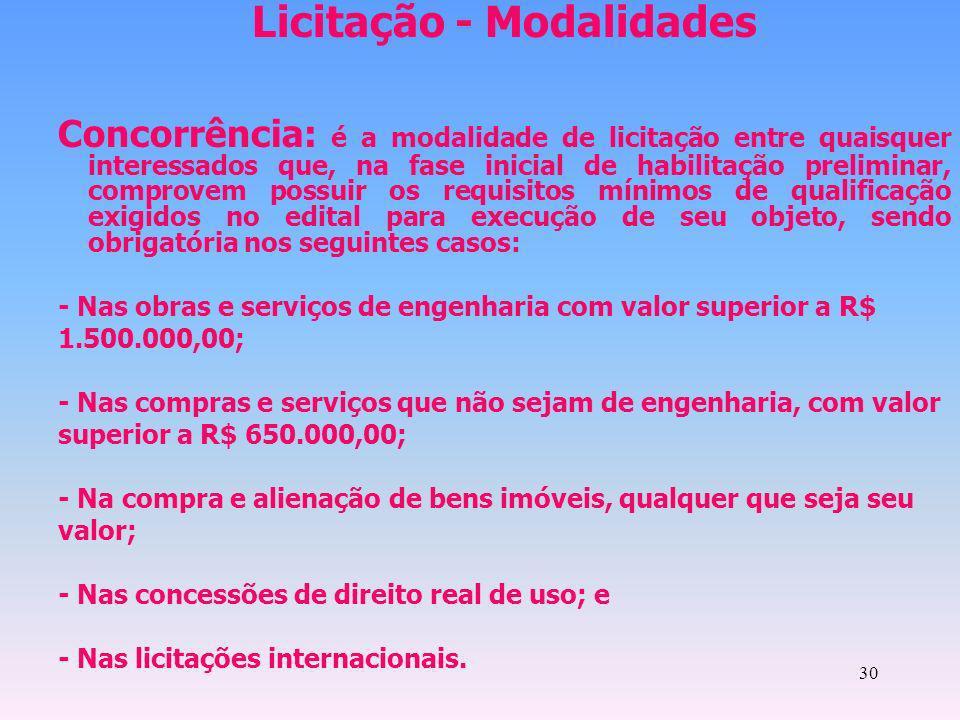 30 Licitação - Modalidades Concorrência: é a modalidade de licitação entre quaisquer interessados que, na fase inicial de habilitação preliminar, comp