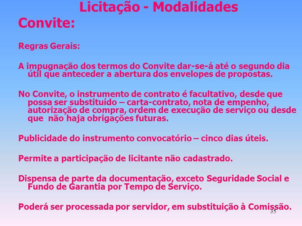 35 Licitação - Modalidades Convite: Regras Gerais: A impugnação dos termos do Convite dar-se-á até o segundo dia útil que anteceder a abertura dos env