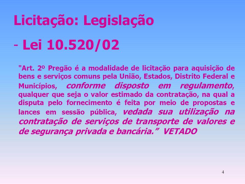 4 Licitação: Legislação - Lei 10.520/02