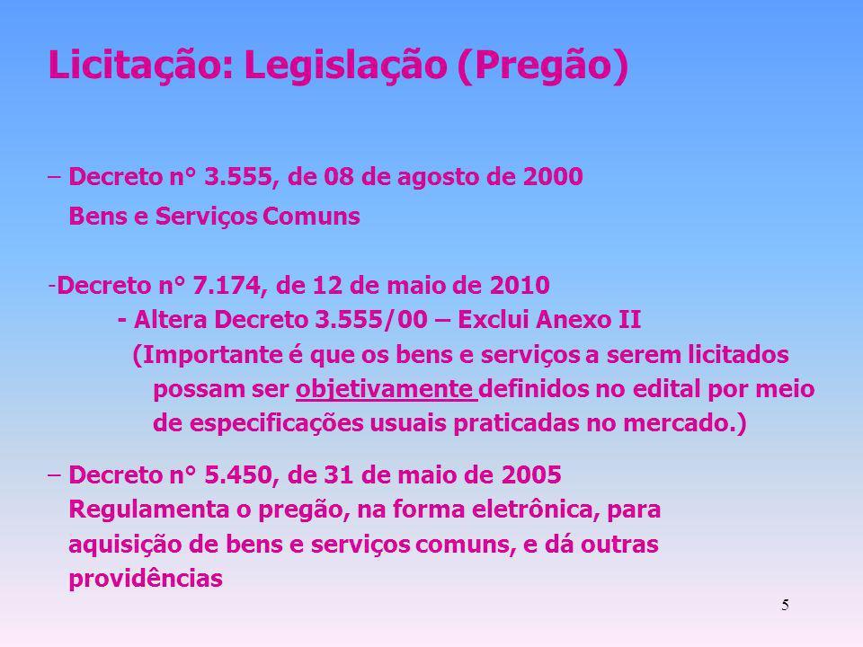5 Licitação: Legislação (Pregão) – Decreto n° 3.555, de 08 de agosto de 2000 Bens e Serviços Comuns -Decreto n° 7.174, de 12 de maio de 2010 - Altera