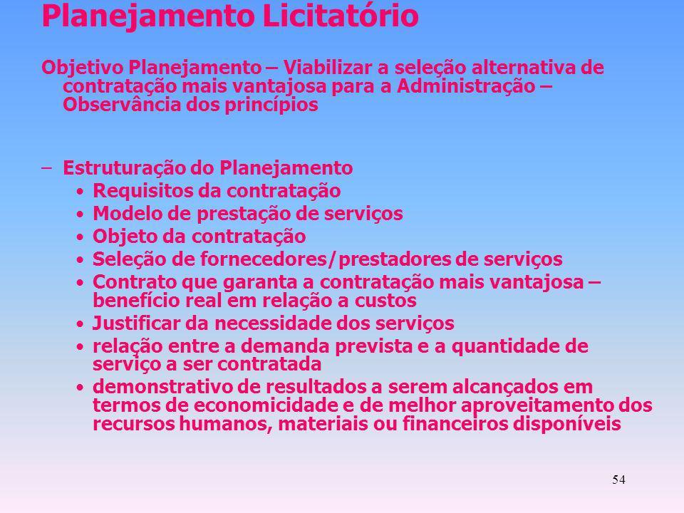 54 Planejamento Licitatório Objetivo Planejamento – Viabilizar a seleção alternativa de contratação mais vantajosa para a Administração – Observância