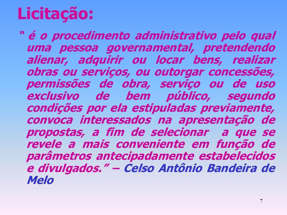 7 Licitação: é o procedimento administrativo pelo qual uma pessoa governamental, pretendendo alienar, adquirir ou locar bens, realizar obras ou serviç