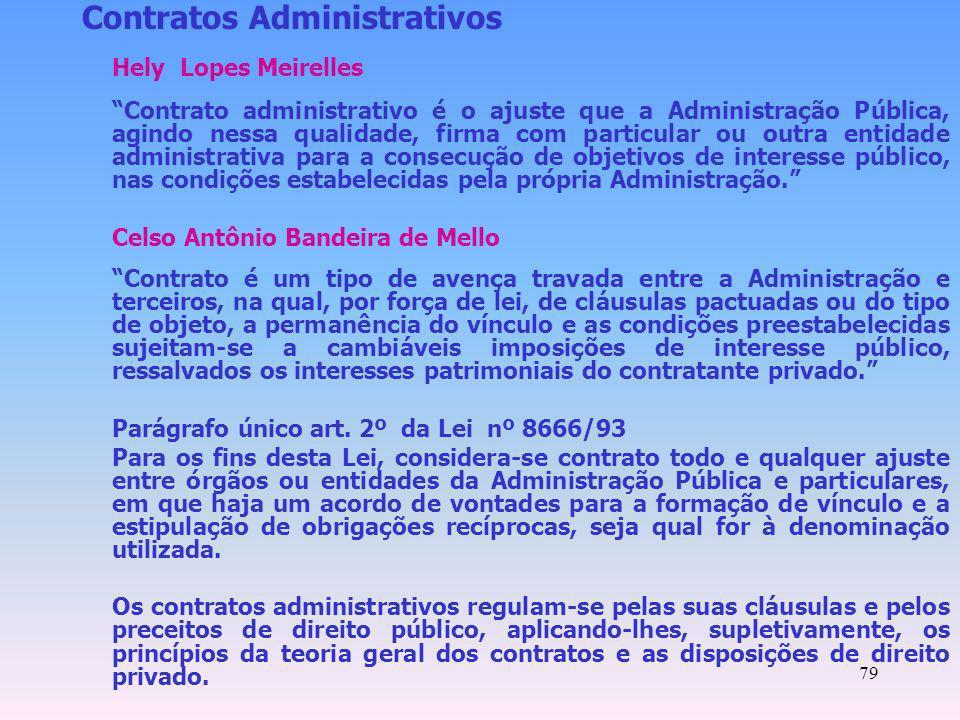 79 Contratos Administrativos Hely Lopes Meirelles Contrato administrativo é o ajuste que a Administração Pública, agindo nessa qualidade, firma com pa