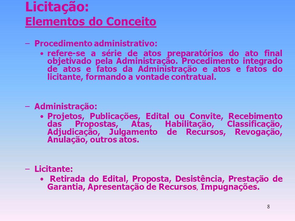 8 Licitação: Elementos do Conceito –Procedimento administrativo: refere-se a série de atos preparatórios do ato final objetivado pela Administração. P