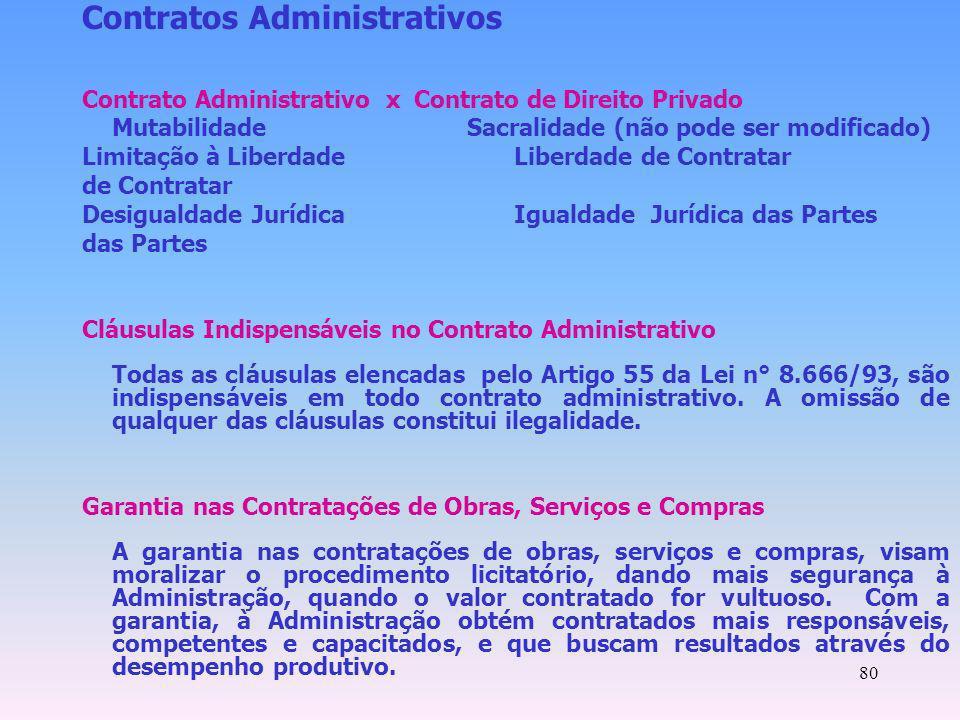 80 Contratos Administrativos Contrato Administrativo x Contrato de Direito Privado Mutabilidade Sacralidade (não pode ser modificado) Limitação à Libe