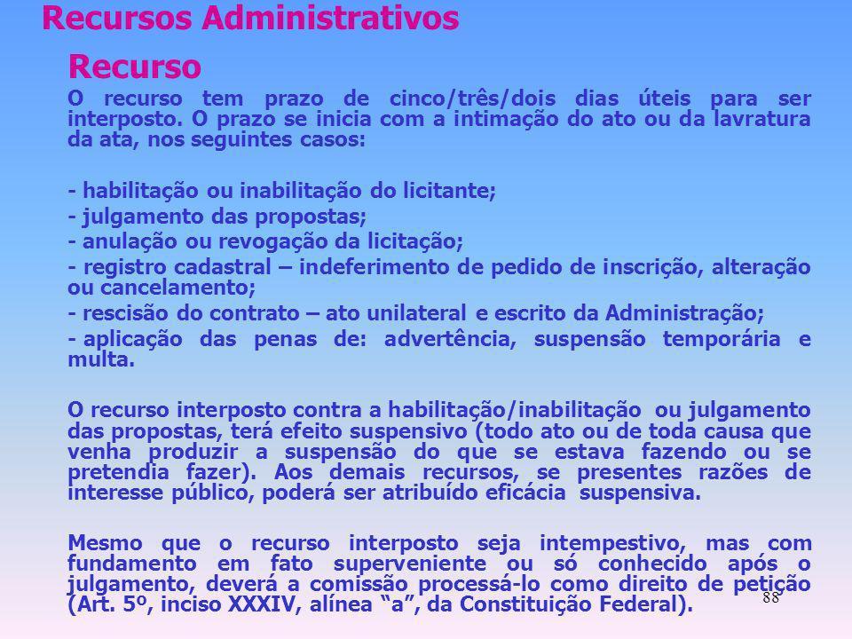 88 Recursos Administrativos Recurso O recurso tem prazo de cinco/três/dois dias úteis para ser interposto. O prazo se inicia com a intimação do ato ou