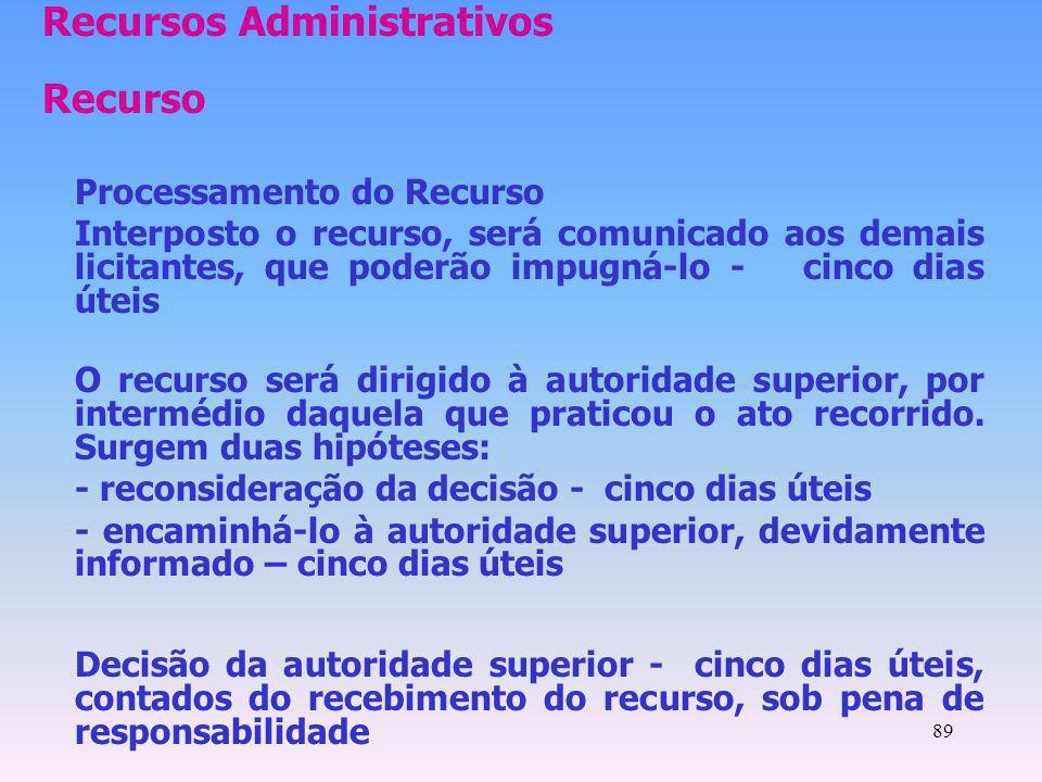 89 Recursos Administrativos Recurso Processamento do Recurso Interposto o recurso, será comunicado aos demais licitantes, que poderão impugná-lo - cin