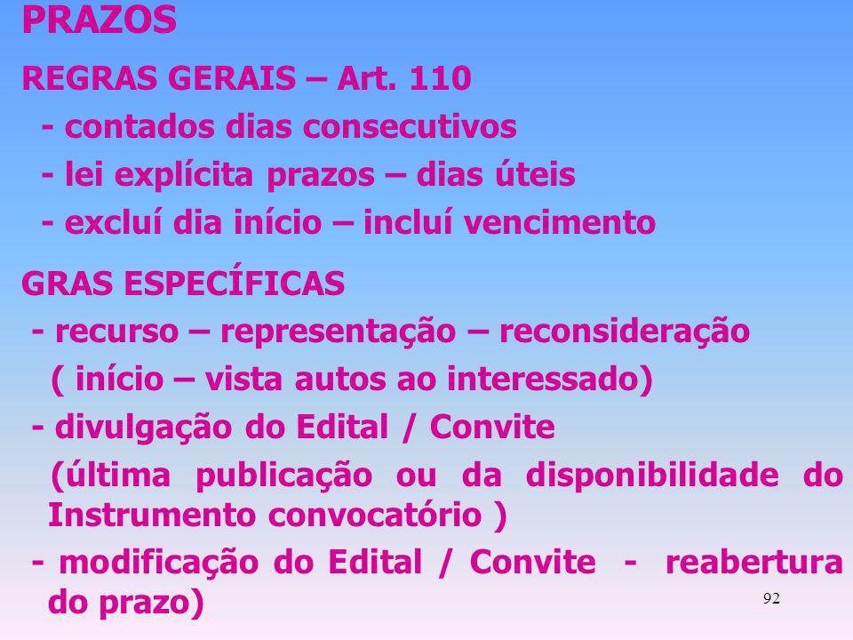 92 PRAZOS REGRAS GERAIS – Art. 110 - contados dias consecutivos - lei explícita prazos – dias úteis - excluí dia início – incluí vencimento GRAS ESPEC