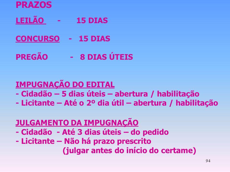 94 PRAZOS LEILÃO - 15 DIAS CONCURSO - 15 DIAS PREGÃO - 8 DIAS ÚTEIS IMPUGNAÇÃO DO EDITAL - Cidadão – 5 dias úteis – abertura / habilitação - Licitante