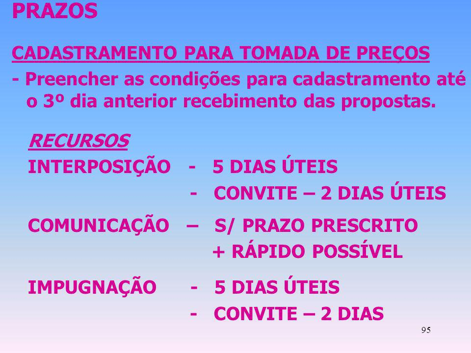 95 PRAZOS CADASTRAMENTO PARA TOMADA DE PREÇOS - Preencher as condições para cadastramento até o 3º dia anterior recebimento das propostas. RECURSOS IN