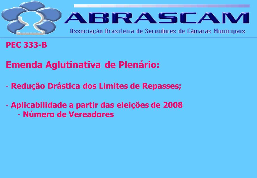 PEC 333-B Emenda Aglutinativa de Plenário: - Redução Drástica dos Limites de Repasses; - Aplicabilidade a partir das eleições de 2008 - Número de Vere