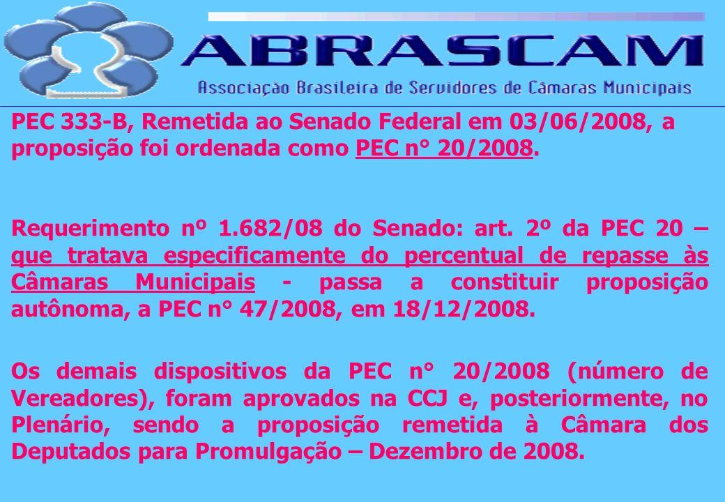 PEC 333-B, Remetida ao Senado Federal em 03/06/2008, a proposição foi ordenada como PEC n° 20/2008. Requerimento nº 1.682/08 do Senado: art. 2º da PEC