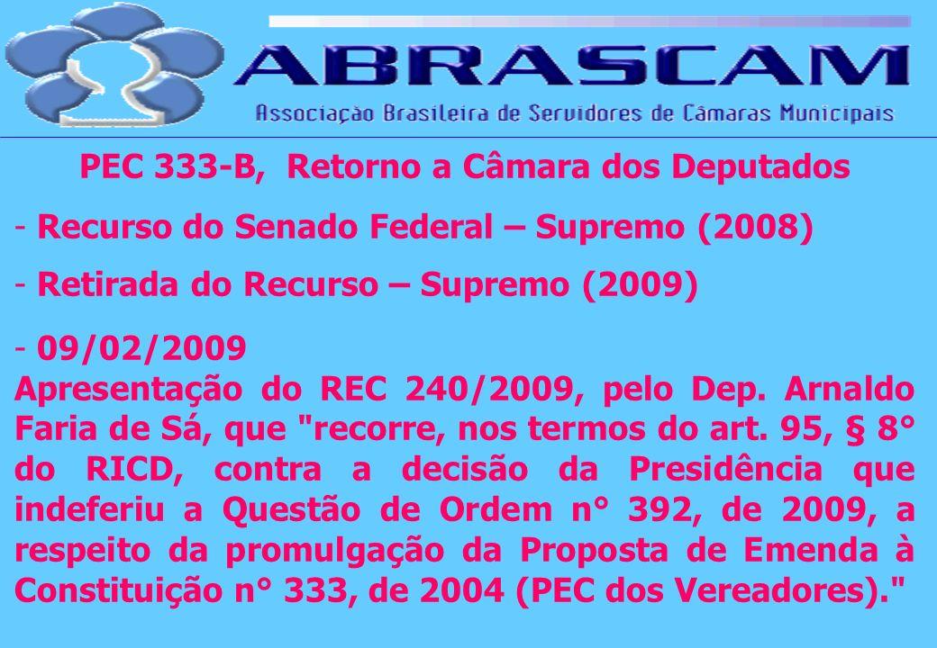 PEC 333-B, Retorno a Câmara dos Deputados - Recurso do Senado Federal – Supremo (2008) - Retirada do Recurso – Supremo (2009) - 09/02/2009 Apresentaçã