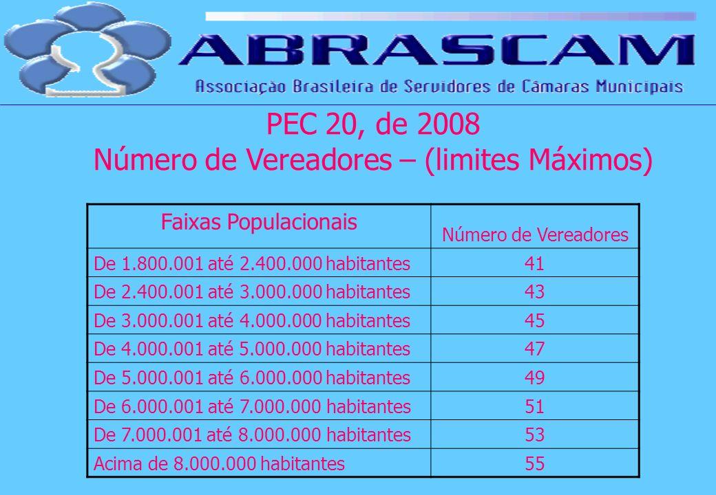 Faixas Populacionais Número de Vereadores De 1.800.001 até 2.400.000 habitantes41 De 2.400.001 até 3.000.000 habitantes43 De 3.000.001 até 4.000.000 h