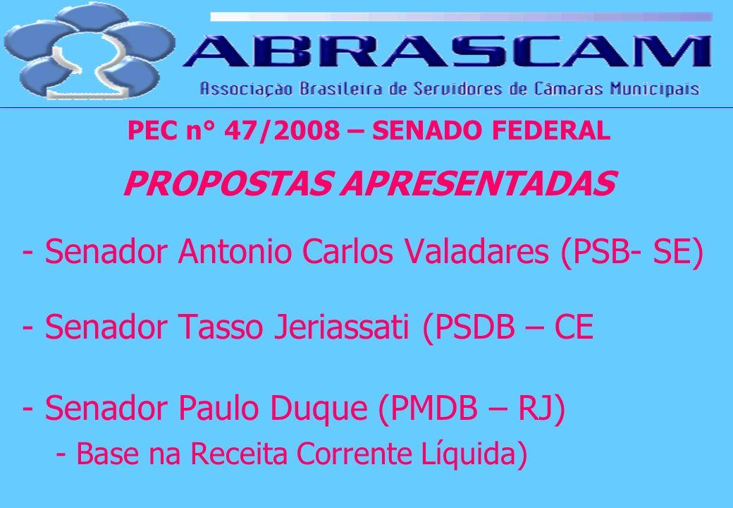 PROPOSTAS APRESENTADAS - Senador Antonio Carlos Valadares (PSB- SE) - Senador Tasso Jeriassati (PSDB – CE - Senador Paulo Duque (PMDB – RJ) - Base na