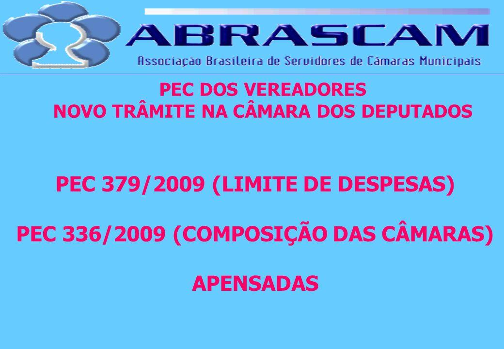 PEC DOS VEREADORES NOVO TRÂMITE NA CÂMARA DOS DEPUTADOS PEC 379/2009 (LIMITE DE DESPESAS) PEC 336/2009 (COMPOSIÇÃO DAS CÂMARAS) APENSADAS