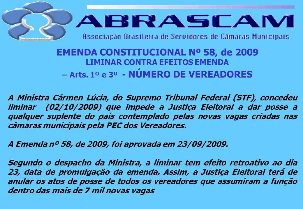 EMENDA CONSTITUCIONAL Nº 58, de 2009 LIMINAR CONTRA EFEITOS EMENDA – Arts. 1º e 3º - NÚMERO DE VEREADORES A Ministra Cármen Lúcia, do Supremo Tribunal