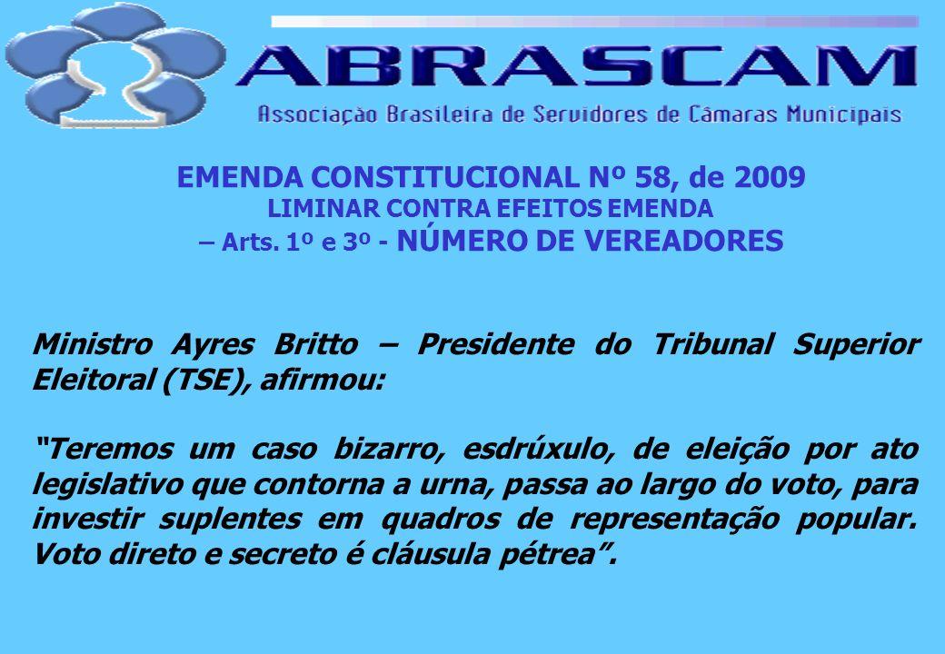 EMENDA CONSTITUCIONAL Nº 58, de 2009 LIMINAR CONTRA EFEITOS EMENDA – Arts. 1º e 3º - NÚMERO DE VEREADORES Ministro Ayres Britto – Presidente do Tribun