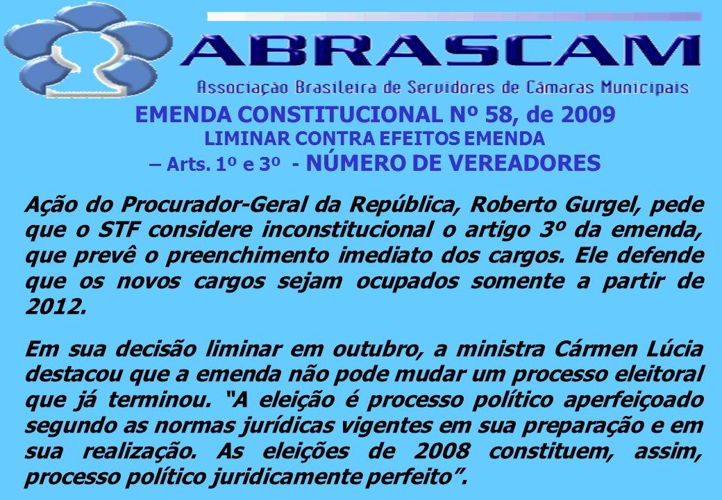 EMENDA CONSTITUCIONAL Nº 58, de 2009 LIMINAR CONTRA EFEITOS EMENDA – Arts. 1º e 3º - NÚMERO DE VEREADORES Ação do Procurador-Geral da República, Rober