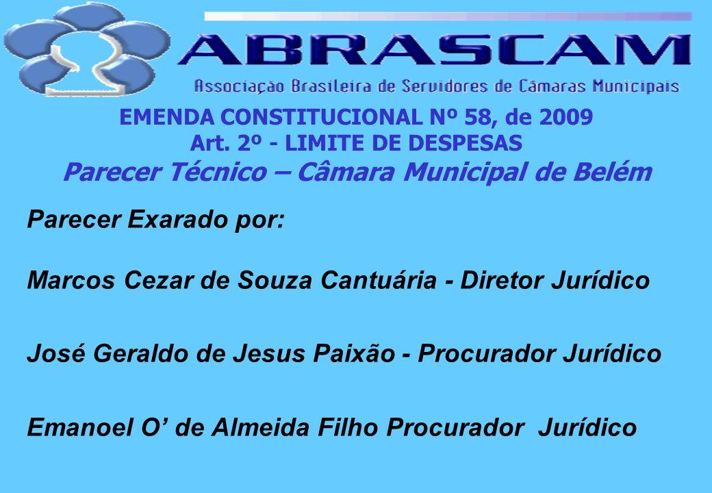 EMENDA CONSTITUCIONAL Nº 58, de 2009 Art. 2º - LIMITE DE DESPESAS Parecer Técnico – Câmara Municipal de Belém Parecer Exarado por: Marcos Cezar de Sou