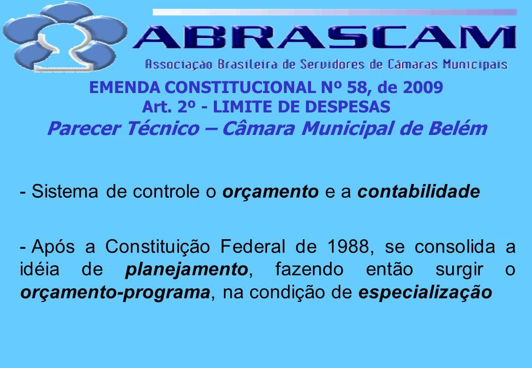 EMENDA CONSTITUCIONAL Nº 58, de 2009 Art. 2º - LIMITE DE DESPESAS Parecer Técnico – Câmara Municipal de Belém - Sistema de controle o orçamento e a co