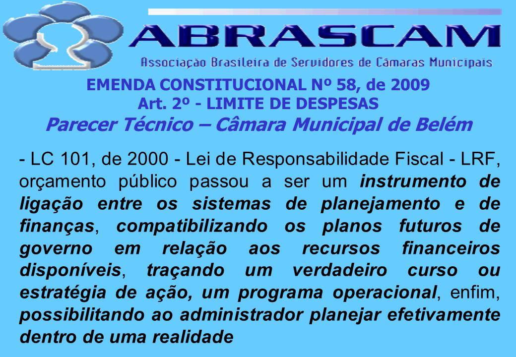 EMENDA CONSTITUCIONAL Nº 58, de 2009 Art. 2º - LIMITE DE DESPESAS Parecer Técnico – Câmara Municipal de Belém - LC 101, de 2000 - Lei de Responsabilid