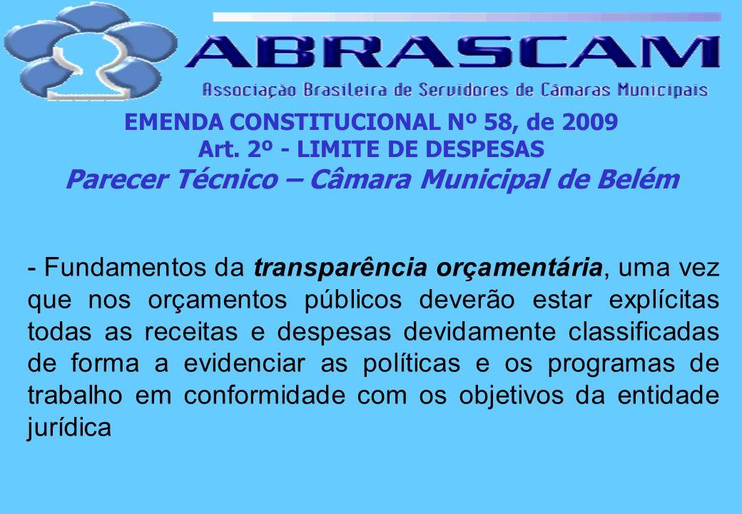 EMENDA CONSTITUCIONAL Nº 58, de 2009 Art. 2º - LIMITE DE DESPESAS Parecer Técnico – Câmara Municipal de Belém - Fundamentos da transparência orçamentá