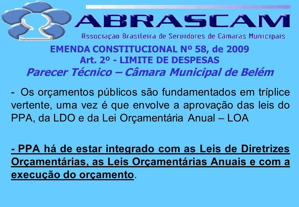 EMENDA CONSTITUCIONAL Nº 58, de 2009 Art. 2º - LIMITE DE DESPESAS Parecer Técnico – Câmara Municipal de Belém - Os orçamentos públicos são fundamentad