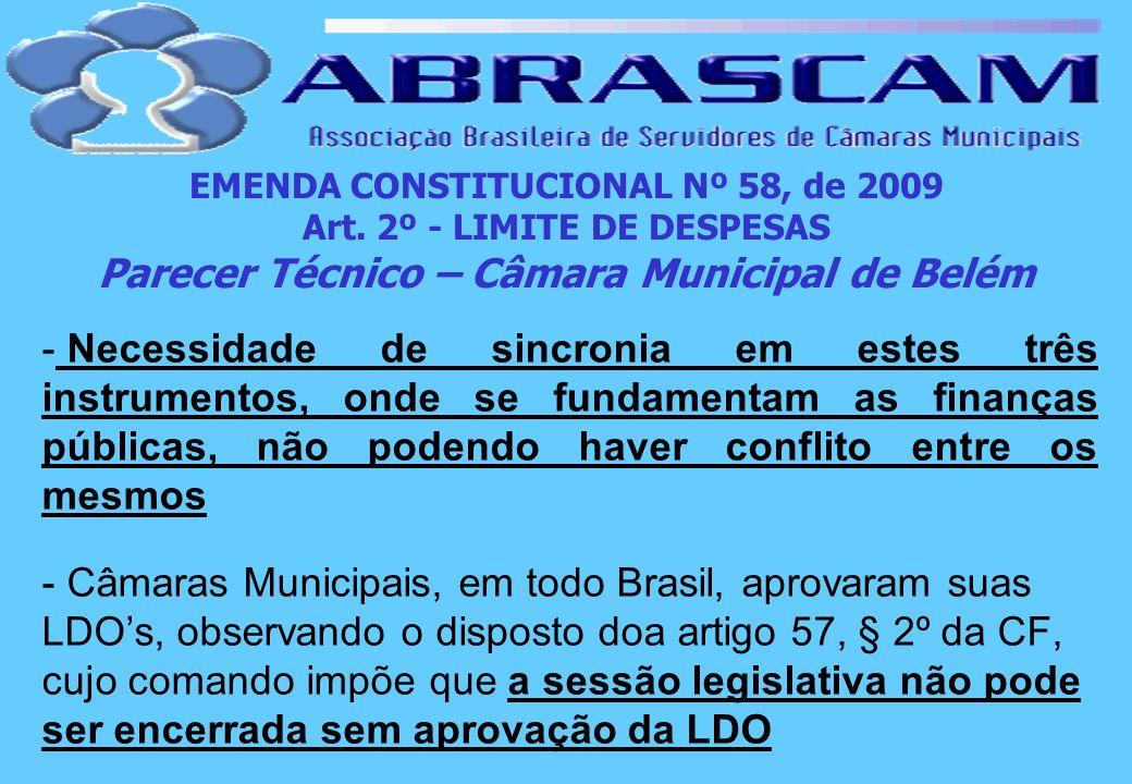 EMENDA CONSTITUCIONAL Nº 58, de 2009 Art. 2º - LIMITE DE DESPESAS Parecer Técnico – Câmara Municipal de Belém - Necessidade de sincronia em estes três