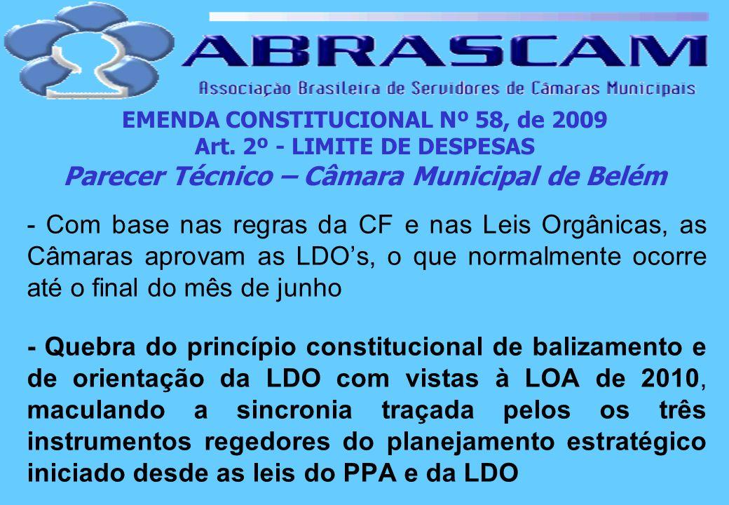 EMENDA CONSTITUCIONAL Nº 58, de 2009 Art. 2º - LIMITE DE DESPESAS Parecer Técnico – Câmara Municipal de Belém - Com base nas regras da CF e nas Leis O