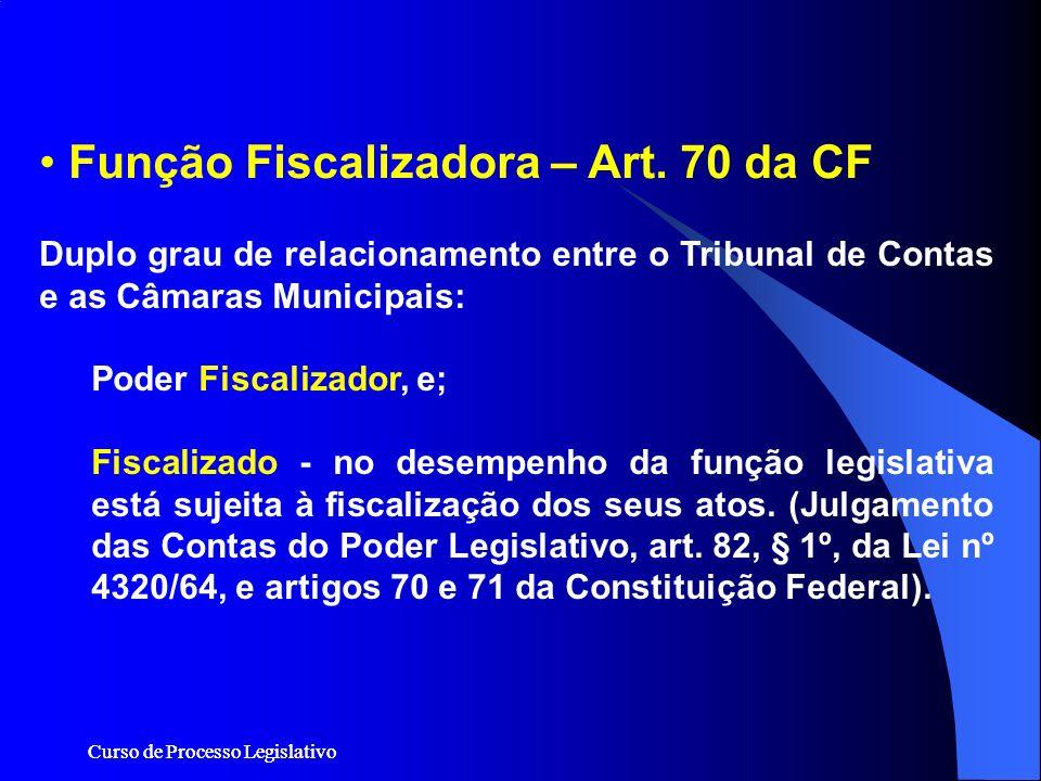 Curso de Processo Legislativo Duplo grau de relacionamento entre o Tribunal de Contas e as Câmaras Municipais: Poder Fiscalizador, e; Fiscalizado - no