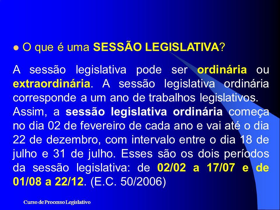 Curso de Processo Legislativo O que é uma SESSÃO LEGISLATIVA? A sessão legislativa pode ser ordinária ou extraordinária. A sessão legislativa ordinári