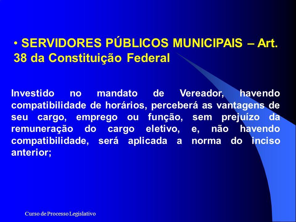 Curso de Processo Legislativo Investido no mandato de Vereador, havendo compatibilidade de horários, perceberá as vantagens de seu cargo, emprego ou f