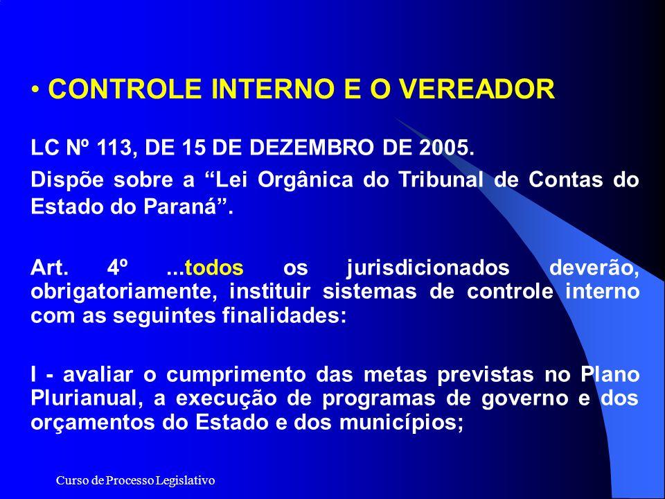 Curso de Processo Legislativo LC Nº 113, DE 15 DE DEZEMBRO DE 2005. Dispõe sobre a Lei Orgânica do Tribunal de Contas do Estado do Paraná. Art. 4º...t