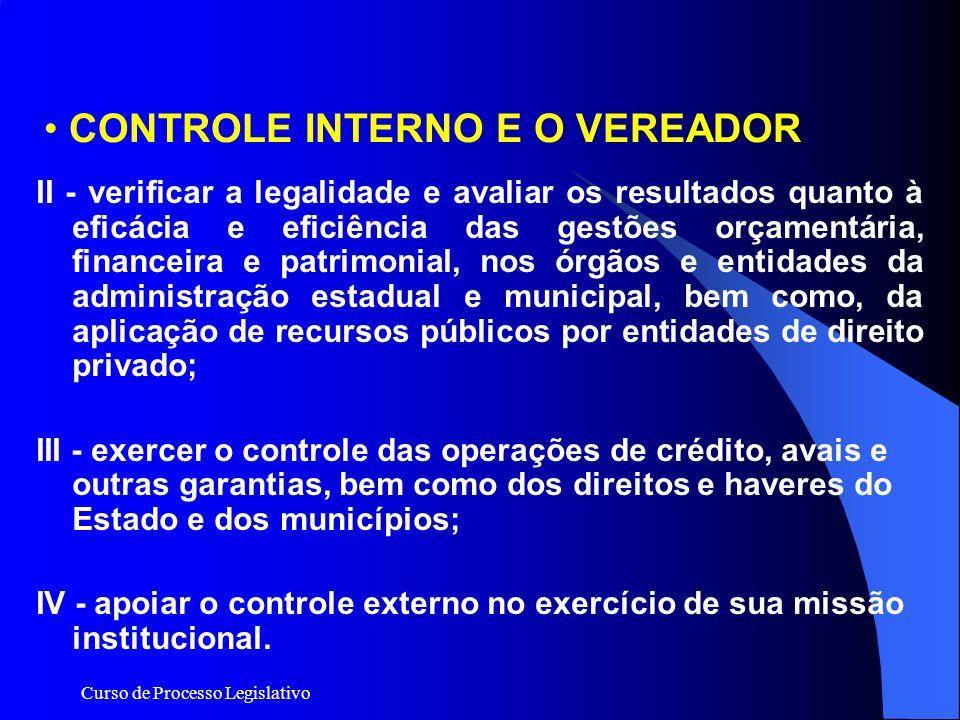 Curso de Processo Legislativo CONTROLE INTERNO E O VEREADOR II - verificar a legalidade e avaliar os resultados quanto à eficácia e eficiência das ges